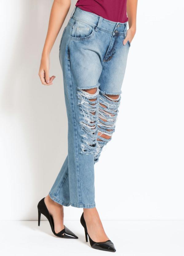 d7f7bc36f55 Quintess Outlet - Calça Boyfriend Destroyed Jeans Quintess ...