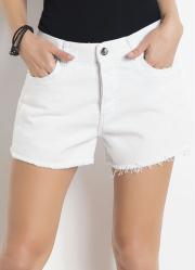 Shorts Jeans Sawary Branco Modelo Boyfriend