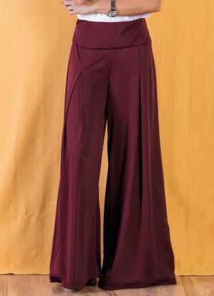 c04f12d2d Moda Pop - Calça Bordô Pantalona com Cintura Média