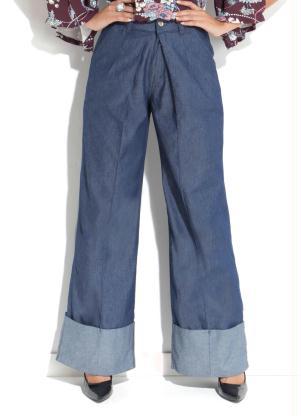70f3862c6 produto Quintess Outlet - Calça Quintess Jeans Pantalona Detalhe na Barra