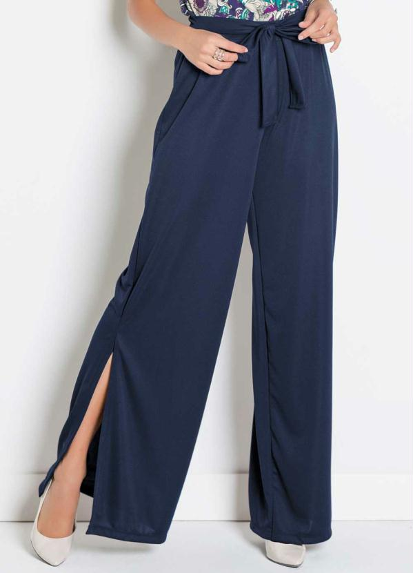 bonprix - Calça Pantalona Animal Print Azul Estampado - bonprix a238643cc24