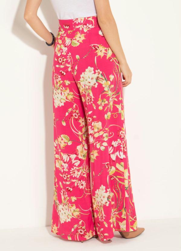 94841dcad Quintess - Calça Pantalona Floral Ampla com Bolsos - Quintess