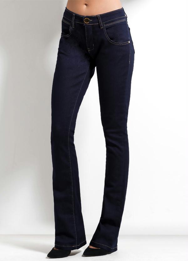 e7a8287dc31b4 Calça Flare Ana Hickmann Jeans Escuro - Multimarcas