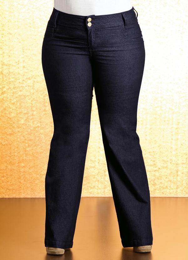 74d24330b Quintess - Calça Flare Plus Size Jeans - Quintess