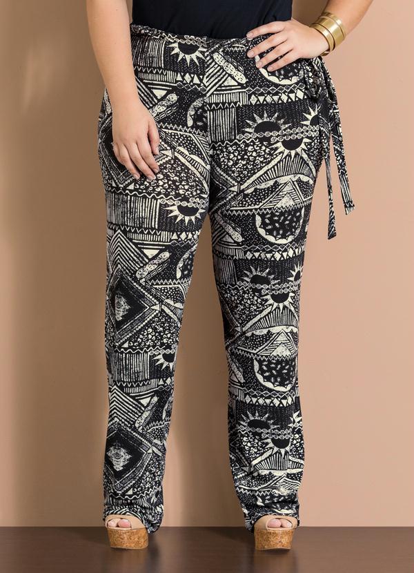 Calça Pantalona Estampa Étnica Plus Size - Quintess Outlet df4b2b510bc