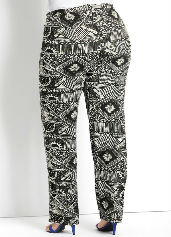 Calça Pantalona Estampa Étnica Plus Size - Quintess Outlet 38ea75a3f62