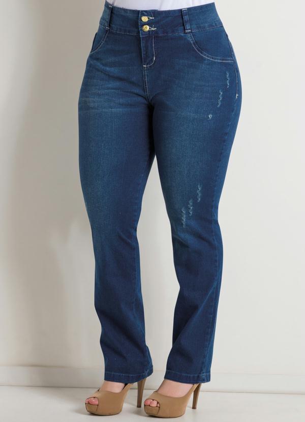 a4b36a532 Calça Reta Jeans Puído Plus Size - Quintess
