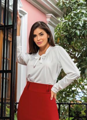4f9db272c2 produto Rosalie - Camisa com Gola Laço Off White Moda Evangélica