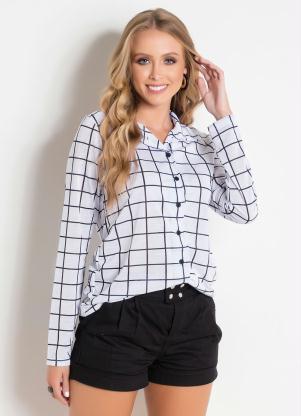 81a678aa8d Moda Pop - Camisa com Botões Xadrez Grid