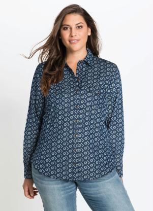 967a7aa9c Camisa Jeans Social Estampada Floral Azul Médio