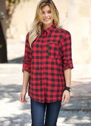 596ae29c3 Camisa Manga Longa - Plus Size Feminino