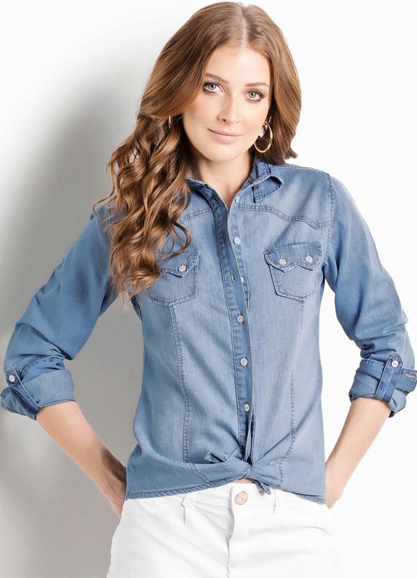 9744e33a14 Multimarcas - Camisa Jeans Claro Ana Hickmann Manga Longa - Multimarcas