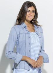 Camisa Mullet com Botões Jeans Quintess