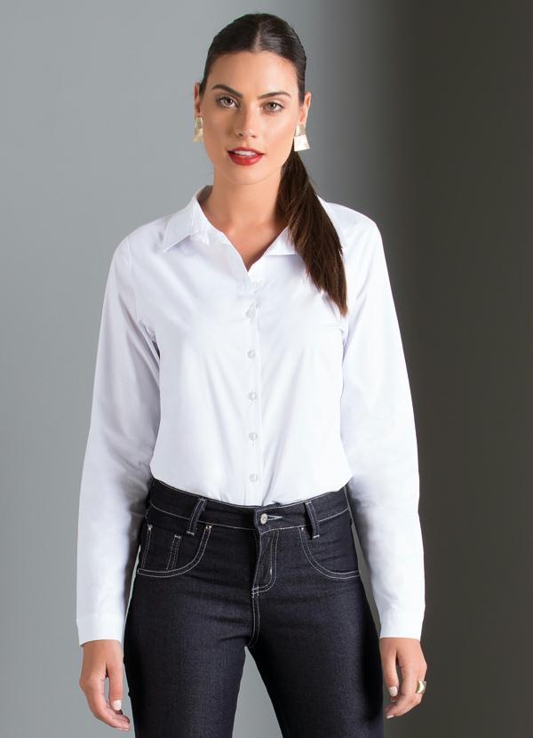 38c6fe497b Camisa Social Manga Longa Branca - Quintess