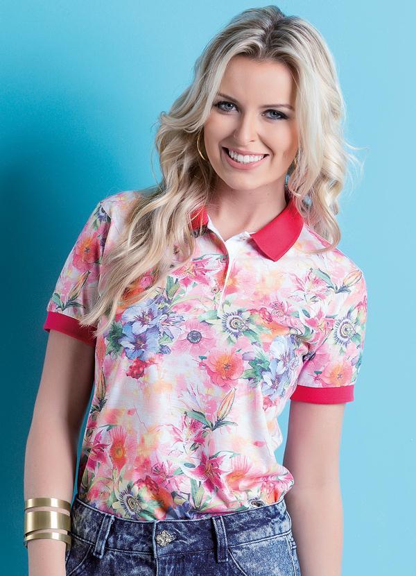 Camisa Gola Polo Floral - Multimarcas 7d1235fc9e47e