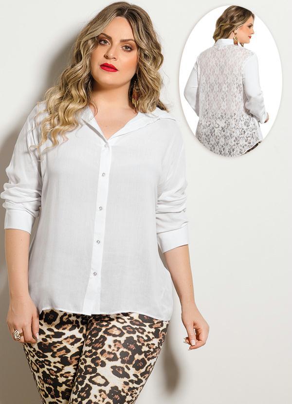 0ad7867dd7 Quintess - Camisa Costas em Renda Branca Plus Size - Quintess
