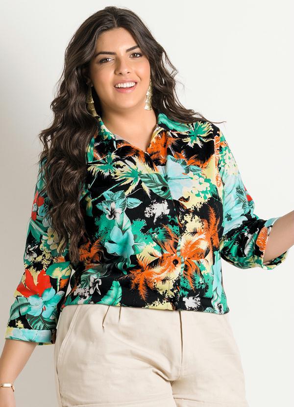 ad13eab5821c9 Camisa Estampa Floral Plus Size - Marguerite