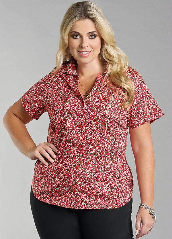 Camisa Feminina Plus Size Floral - Marguerite 8028a93751b
