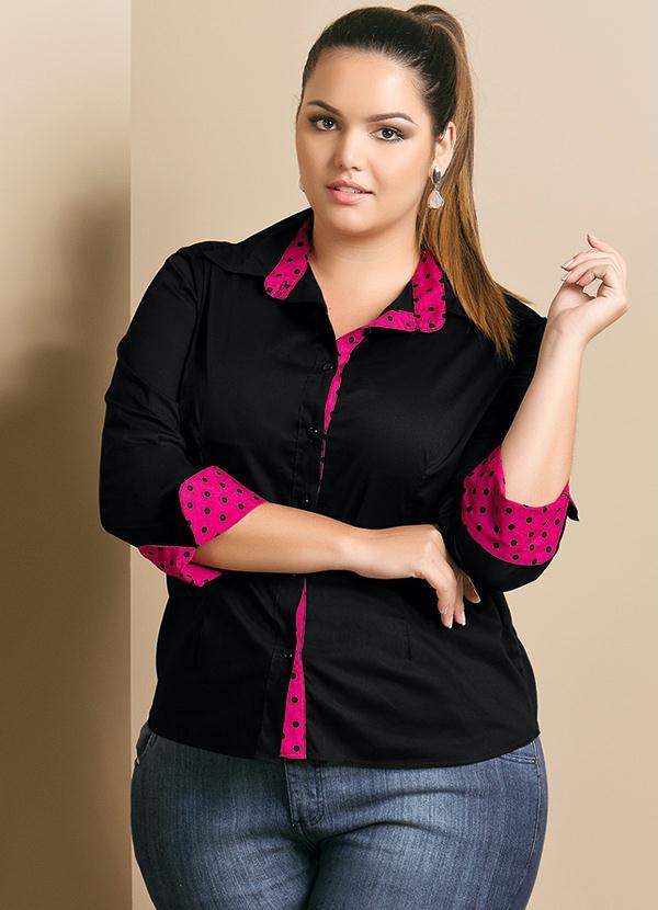 4abb105ed Camisa Feminina Plus Size Preto e Rosa - Quintess