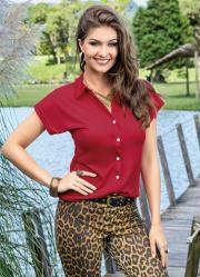 Camisa Feminina Vermelha Manga Curta