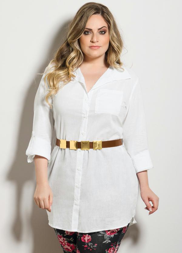 8190c9fd4f Quintess - Camisa Social Branca Plus Size - Quintess
