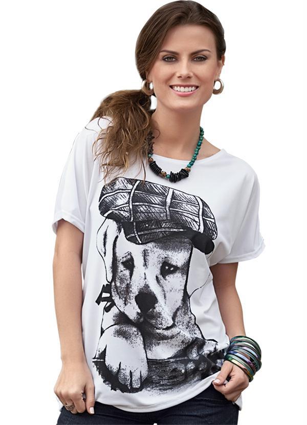 c436d72d359e3 Moda Pop - Blusa Branca com Estampa de Cachorro - Moda Pop