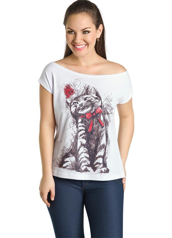 da3f044041 Moda pop - Blusa com Ombro Caído Branca e Estampa Frontal - Moda Pop