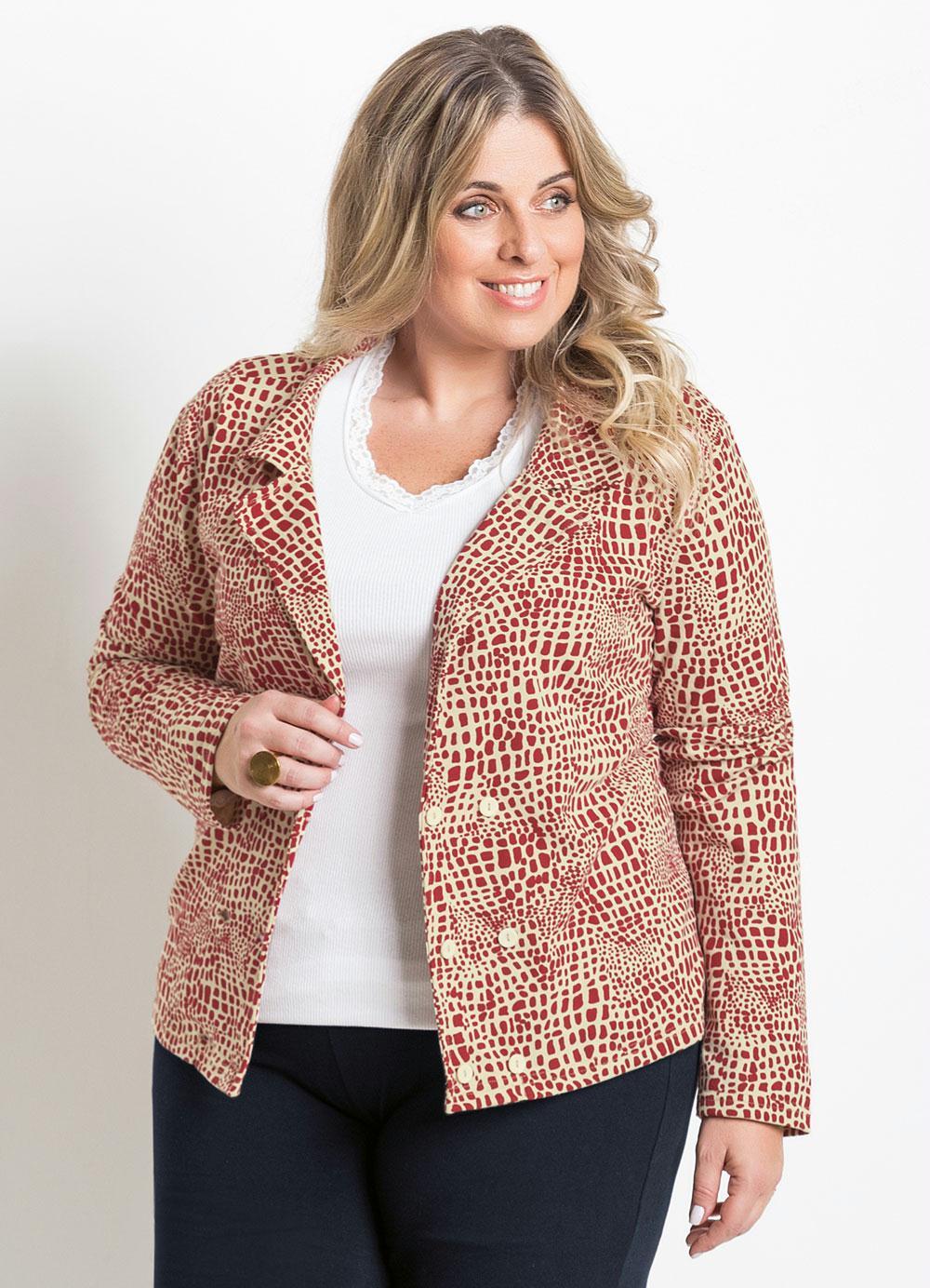 38b0accd6 Blazer Plus Size Feminino Estampado - Marguerite