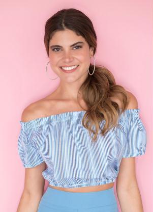 d73e8fe46 Blusa Azul Listrada Ombro a Ombro