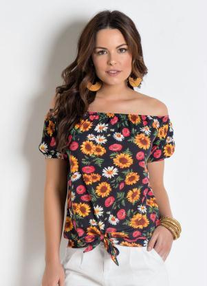 c7d2f43ea Moda Pop - Blusa Ciganinha com Amarração Floral
