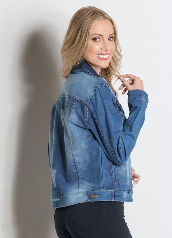 ef6fe0c56 Sawary Jeans - Jaqueta Jeans Azul Sawary com Bolsos - Sawary Jeans
