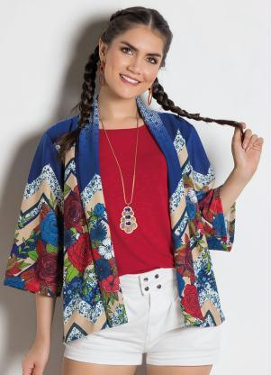 334a0ca7da produto Queima Estoque - Kimono Barrado Estampado com Manga 7/8