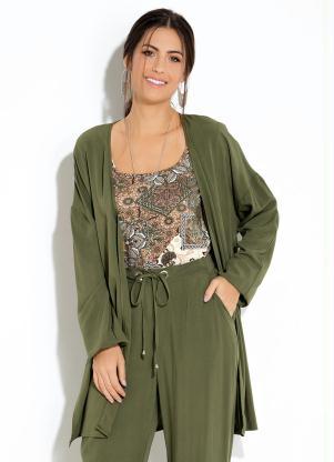 debb58114 produto Quintess - Kimono Verde com Fendas nas Laterais