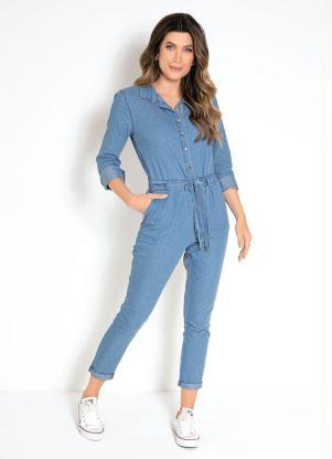 ce059f4de bonprix - Macacão Jeans Azul Médio