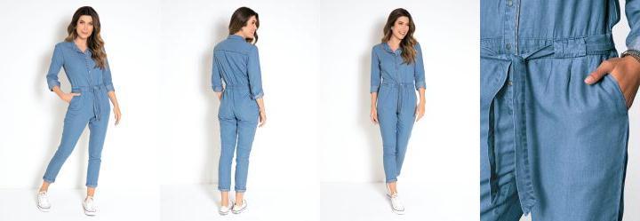 1738a09d9a 0.0 Macacão Jeans Azul Médio