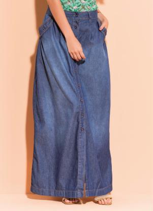 f68da992d produto Quintess - Saia Longa Jeans Azul com Botões Frontais