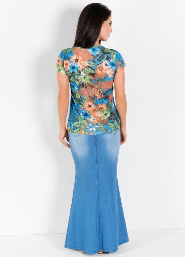 133a11d09d6 Rosalie - Saia Longa Moda Evangélica Modelo Sereia Azul - Rosalie