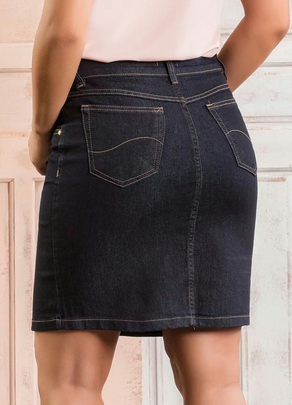 70e00973da Queima estoque - Saia com Botões Frontais Jeans Escuro - Queima de ...
