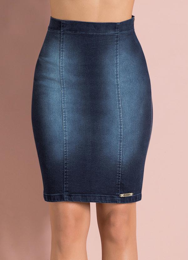 8601b19ee Multimarcas - Saia Lápis Jeans - Multimarcas