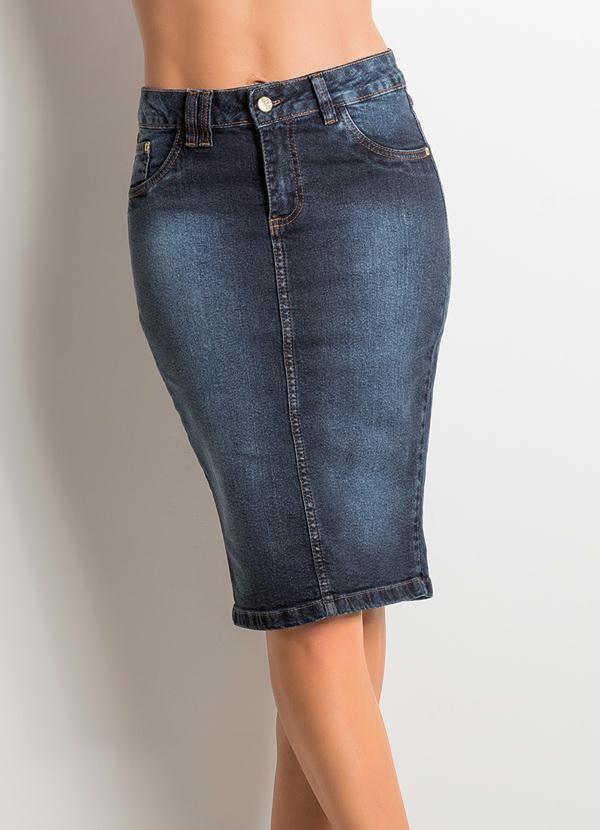 2bb643efc Janine - Saia Midi Cintura Alta Jeans - Multimarcas