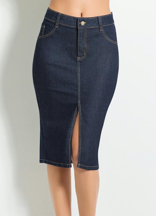 439d8fa40 Janine - Saia Midi com Fenda Frontal Jeans Escuro - Multimarcas