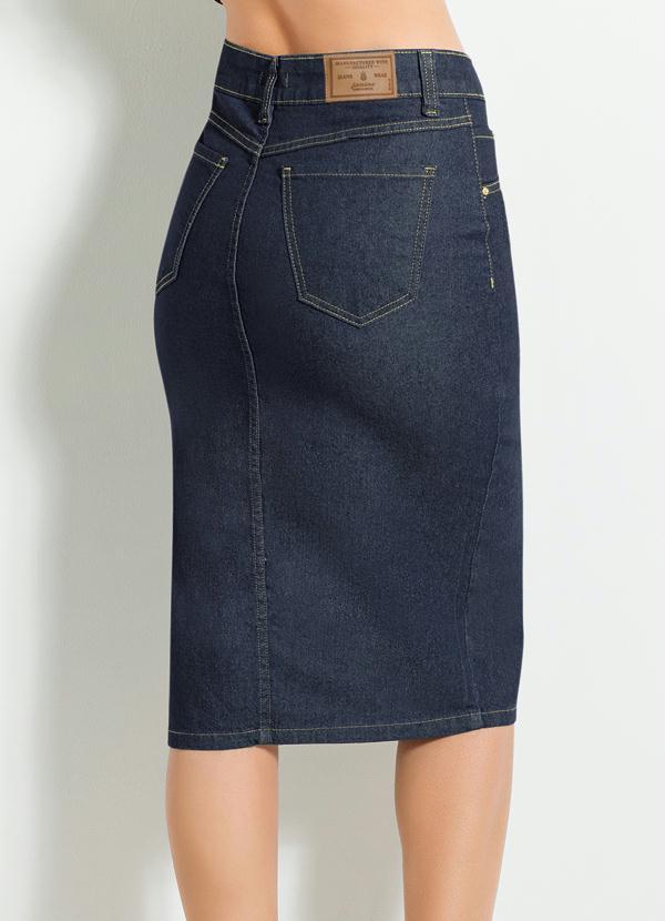 d27b0cd2d Multimarcas - Saia Midi com Fenda Frontal Jeans Escuro - Multimarcas