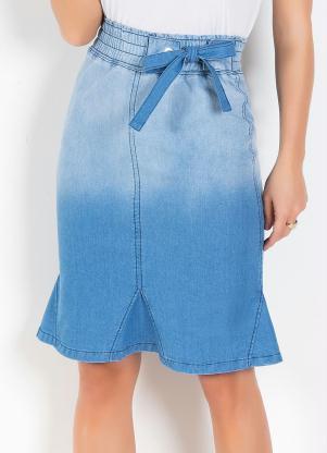 5f6d872950 produto Queima Estoque - Saia Moda Evangélica com Ilhós Jeans Claro