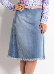 Saia Midi Jeans Claro Moda Evangélica