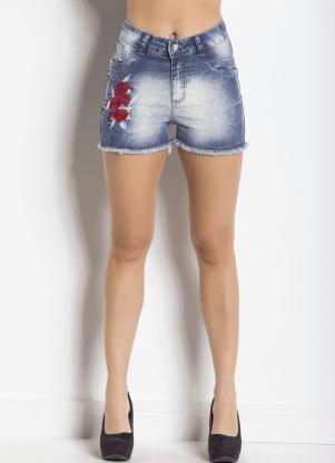 236c64ad1 Multimarcas - Shorts Jeans Azul Estonado com Bordado