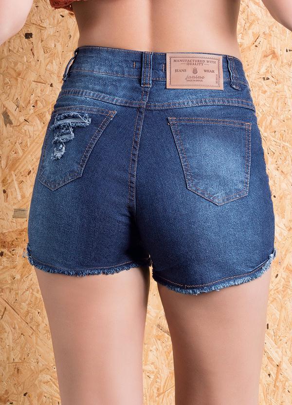 2d9662e7a Janine - Short Jeans Cintura Média com Barra Desfiada - Multimarcas