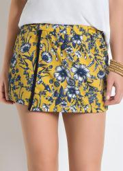 Shorts-Saia com Sobreposição Floral