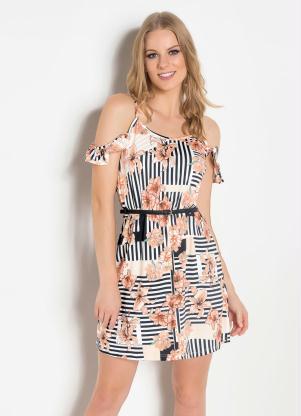 f82203c442fa produto Queima Estoque - Vestido de Alça com Babado Floral e Listrado