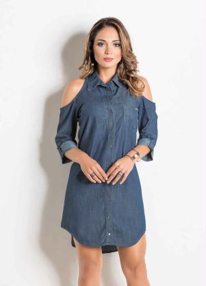5e66f1021 produto Sawary Jeans - Vestido Jeans Sawary com Ombros Vazados