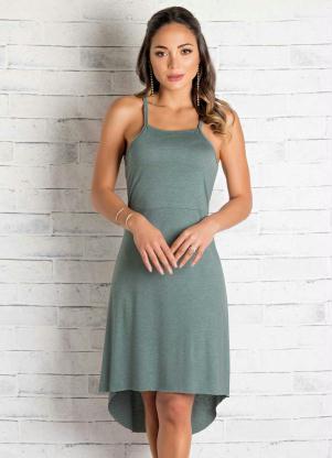 8f63374e8960 produto Queima Estoque - Vestido Midi Mullet de Alças Verde